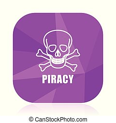 Piracy skull violet square vector web icon. Internet design and webdesign button in eps 10. Mobile application sign on white background.