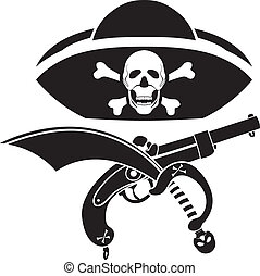 piracy symbol, hat with skull, gun