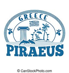 Piraeus, Greece stamp or label