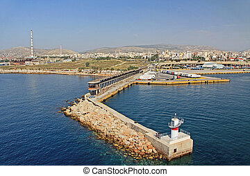 Piraeus, Harbor, harbour, port, water, boat, ferry, ship, transport, transportation, lines, cruise, docked, dock, passenger, downtown, business, district, city, town, building, Industrial, industry, office buildings, Athens, Athans, Attica, Greece, Greek, Europe, European, Mediterranean, sea, skyline, travel, architecture, copy space, copy-space, copyspace, blue sky, sky, landscape, seascape, coast, cityscape, blue, ocean,