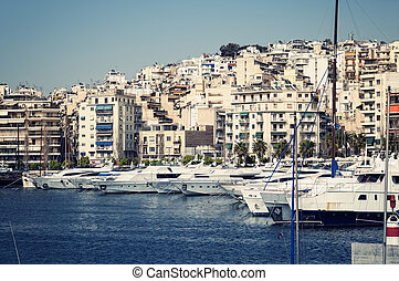 Piraeus Marina in Athens, Greece.