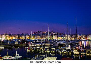 Piraeus Marina port at Greece in the night