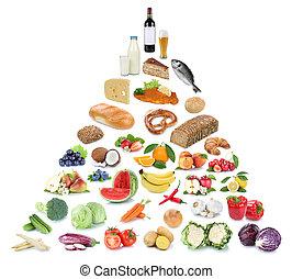 piramida, jedzenie jadło, warzywa, odizolowany, zdrowy, owoc, owoce, collage