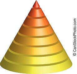 piramida, płatowaty, ilustracja, wielobarwny, wektor, cone., 8, layers., stożkowaty, 3d