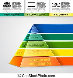 piramide, 3d, infographics