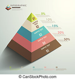 piramide, abstratos, vetorial, infographics, tipo, 3d