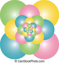piramide, balões, coloridos
