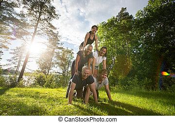 piramide, campo, umano, fabbricazione, ritratto, amici, felice
