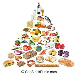 piramide, cibo mangia, verdura, isolato, collezione, sano, frutta, frutte