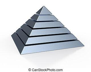 piramide, com, seis, colorido, níveis