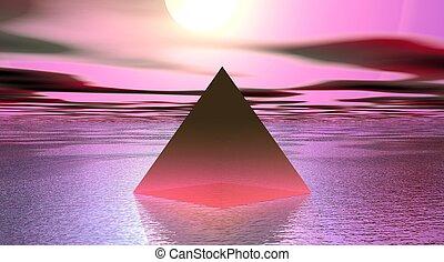 piramide, cor-de-rosa