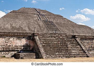 piramide, de, a, sun., teotihuacan, méxico