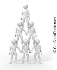 piramide, de, pessoas., liderança