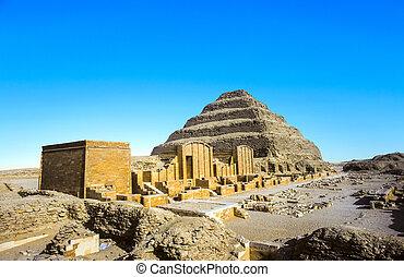 piramide, egypt., saqqara, djoser, unesco, mundo, necropolis