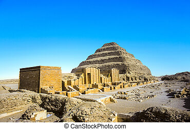 piramide, egypt., saqqara, djoser, unesco, wereld,...