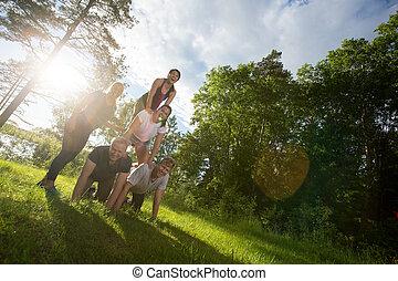 piramide, inclinazione, immagine, foresta, umano, fare amici, felice