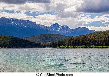 piramide, montagna, patricia, lago, jasper parco nazionale, alberta, canada