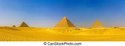 piramide, queens', piramides, piramides, menka, giza:, aanzicht