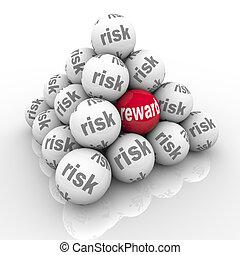piramide, retorno, risco, vs, bolas, recompensa,...