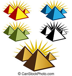 piramide, set, pictogram