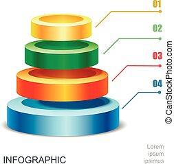 piramide, tabel, voor, infographics, presentatie, vector, illustratie
