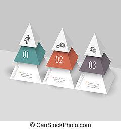 piramides, modernos, modelo, forma, infographics