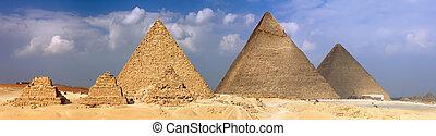 piramides, panorama, groot, giza., opgespoorde
