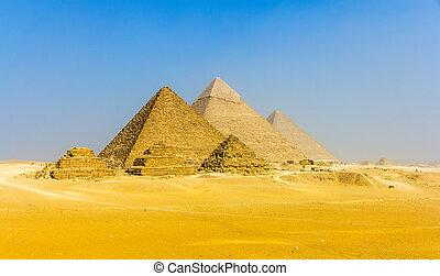 piramides, piramides, aanzicht, drie, plateau:, queens', giza