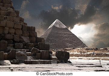 piramides, tempestade