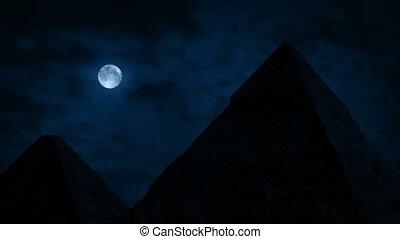 piramidy, księżyc, pełny, pod