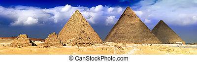 piramidy, panorama, wielki, giza., umieszczony
