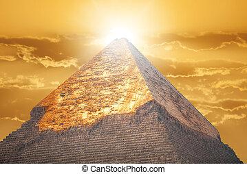piramis giza, alatt, egypt.