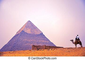 piramis, giza, alatt, kairó, egyiptom