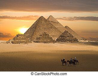 piramis, közül, gizeh, képzelet