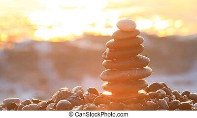 piramis, közül, hegyikristály, noha, napkelte, képben látható, a, tenger