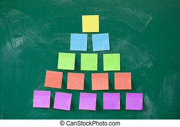 piramis, színes, tábla, tiszta, jegyzet, megragadt,...