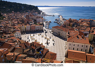 Piran city - Slovenia Top view on a sunny day