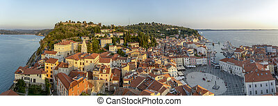 Piran, Slovenia - Sunset in Piran, Adriatic Sea in Slovenia