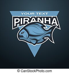 Piranha emblem, logo for a sports team. Vector illustration.