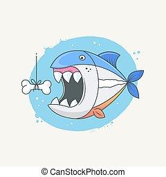 Piranha fish under water trying to eat bone bite funny...