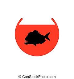 Piranha in aquarium isolated. Predatory fish. Marine predator