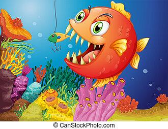 piranha, mare, sotto