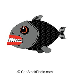 Piranha marine predator on white background.Terrible sea...