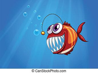 piranha, pauroso, mare, sotto