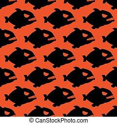 piranha., predators., modello, fish, seamless, sanguinante, grande, fondo., silhouette, rosso, denti, gregge, aggressivo, evilmarine