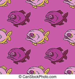 Piranha seamless pattern. Original design for print or...