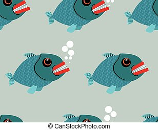 Piranha seamless pattern. Toothy fish vector background. Terrible, bloodthirsty saltwater fish. Marine predator in sea of endless texture.