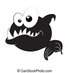 piranha silhouette on white background