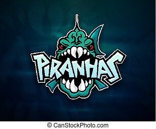 Piranhas emblem logo for sports team, modern badge mascot...