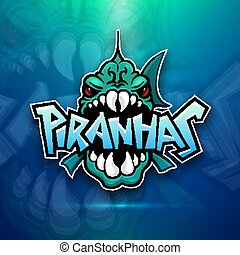 Piranhas emblem logo for sports team, modern badge mascot...